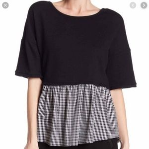 DR2 French Terry Twofer Blouse B/W gingham NWOT